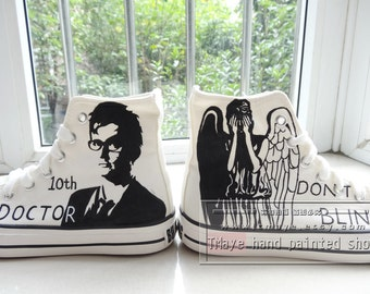 Doctor Who painted shoes painted 10th dortor and weeping angel