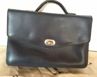 small handbag vintage navy blue leather