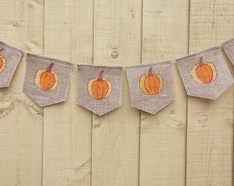 Autumn little pumpkin baby shower bunting banner, fall harvest home decor, thanksgiving