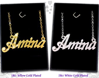 Name Necklace Amina  - 18K Gold Plated, Czech Rhinestones