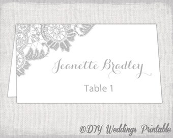 """Printable Place cards template Silver gray wedding place card templates """"Antique Lace"""" DIY printable name cards -Avery 5302 instant download"""