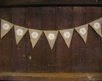 Summer Banner Bunting, Flower Banner, Summer Garland, Home Decor, Summer Decor, Burlap Banner Bunting, Photo Prop, Rustic, Flower Garland