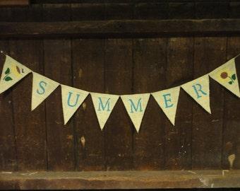 Summer Banner, Summer Bunting, Summer Garland, Home Decor, Summer Decor, Burlap Banner, Burlap Bunting, Sunflower Burlap garland, Rustic