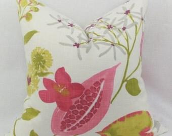 Pink & green floral decorative throw pillow covers. 18 x 18, 20 x 20, 22 x 22, 24 x 24, 26 x 26, lumbar,. Accent pillow.