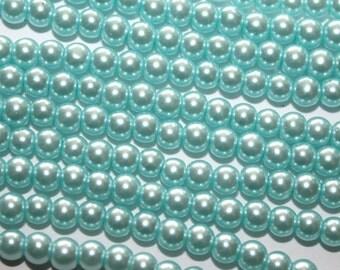Light Blue Glass Pearl Beads - 4mm - 1 Strand