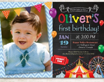 Circus birthday invitation. Boy Carnival birthday party invite. Chalkboard circus tent bday invites with photo. Printable digital DIY.