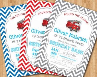 Firetruck Birthday Invitation. Baby boy chevron invites. Baby boy birthday party invitations. Any custom color. DIY digital printable.
