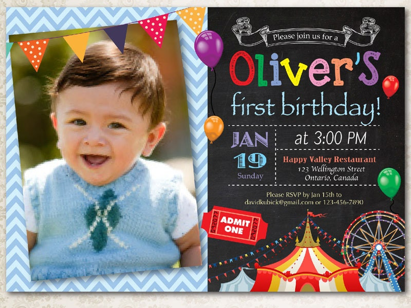 Circus birthday invitation. Boy Carnival birthday party