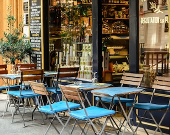 Paris Photgraphy,Charming Paris Cafe in teal, turquoise, navy blue