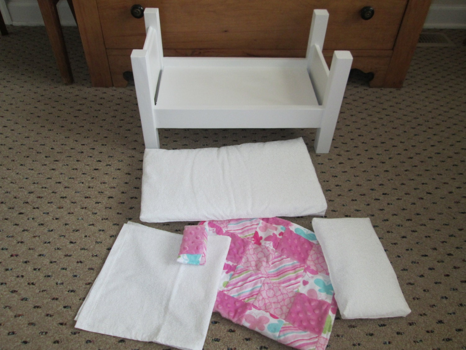 Marvelous photograph of 18 inch Wooden Doll Bed with comforter set by SandysHomemadeCrafts with #884360 color and 1500x1125 pixels