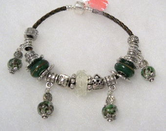 288 - CLEARANCE - Green and Brown Bracelet