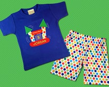 Boy's Birthday Outfit with Bounce House Shirt and Matching Shorts or Pants - F22