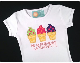 Girl's Ice Cream Shirt with Embroidered Name