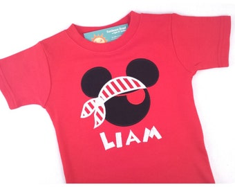 Boy Mouse Pirate Shirt with Striped Bandana, Eye Patch and Name