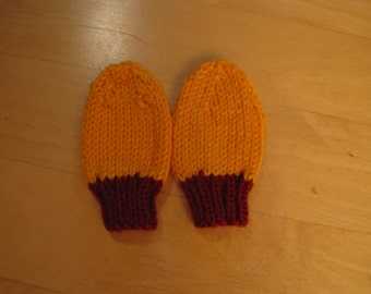 Knit Baby Mittens - Orange and Red Mittens - Newborn