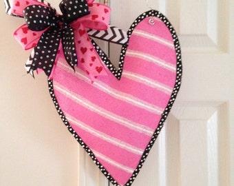 Medium Stuffed Burlap Heart Door Hanger