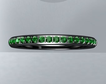 Emerald Wedding Band Round VVS Emeralds 14kt Gold Black Rhodium Wedding Band (Perfect Fit for any of our settings) Wedding Ring