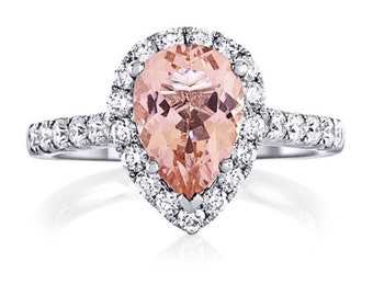 14kt White Gold 2.36cttw 10x7mm Pear Shape Morganite Engagement Ring and fsi1 Diamonds New Collection Halo  Wedding Ring Anniversary