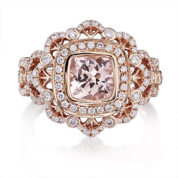 vintage morganite engagement ring 1 62ct cushion cut