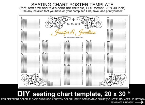 wedding seating chart poster template printable reception. Black Bedroom Furniture Sets. Home Design Ideas
