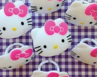 12 Hello Kitty Cupcake Topper Rings