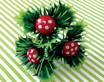 12 mushroom cupcake cake toppers decorations woodland christmas gnome forest buche de noel craft supply - Decoration Buche De Noel