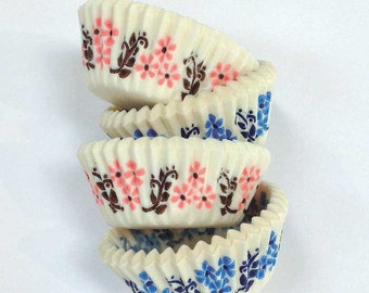 500 BULK Mini Cupcake Liners — Bavarian Flower Design in Pink and blue — WHOLESALE Mini Cake Cups Made in Sweden Greaseproof