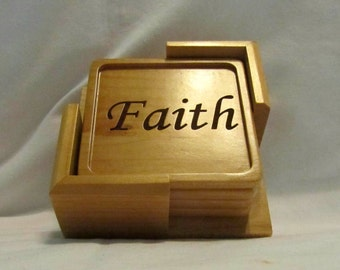 Custom Wood Coaster Set With Holder- Faith, Hope, Love, Joy