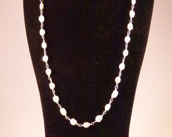 Rosary link pearl necklace