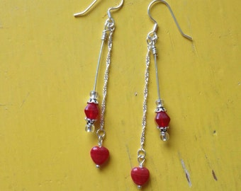 Red Czech glass dangle hearts on a chain