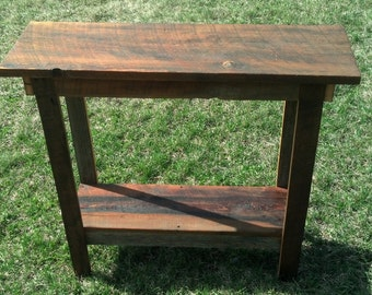 Reclaimed wood/ barn wood entry way table. Works great as an counsel table, entry table, or behind the couch.