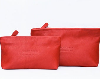 Sale!!! Red Leather Purse - Small Leather Pouch Handmade with LOVE!