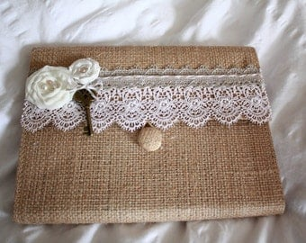Rustic burlap guest book or journal with ivory lace