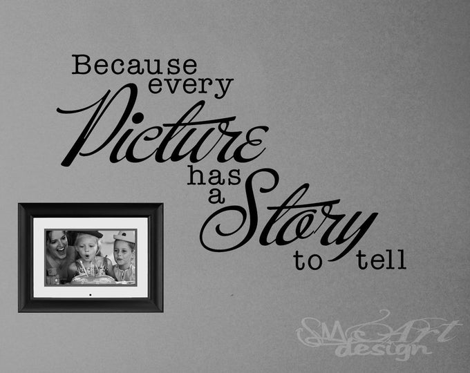 Because every picture has a story to tell VINYL WALL DECAL sticker photo frame photo album mosaic home decor wedding accessories