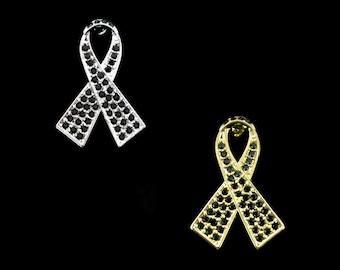 Crystal Black Ribbon Bow Melanoma Skin Cancer Awareness Brooch Pin Silver Tone Gold Tone