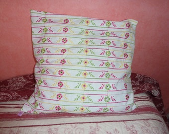 White Cushion cover with pink, yellow and green flowers embroidery