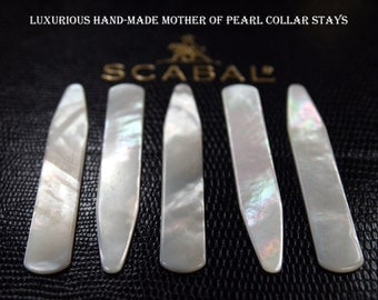 Luxurious Handmade Mother of Pearl Collar Stays - 1 Pair