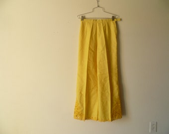 Vintage Wide Leg Yellow Pants/ High Waist Pants