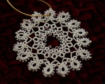 Tatted Lace Snowflake #7; Christmas Tree Decoration, Lace Ornament, White Lace Decoration, Thirteenth Anniversary Gift