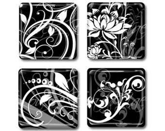 Set of 4,Black & White Magnets, Glass Tile Magnets, Glass Magnets, Refrigerator Magnets, Fridge Magnets