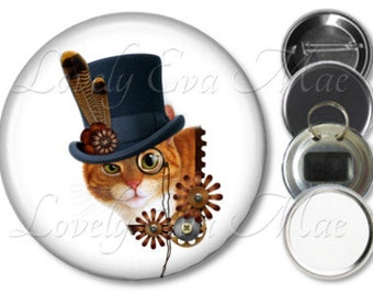 Steampunk Cat Pocket Mirror, Magnet, Bottle Opener Key Ring, Pin Back Button