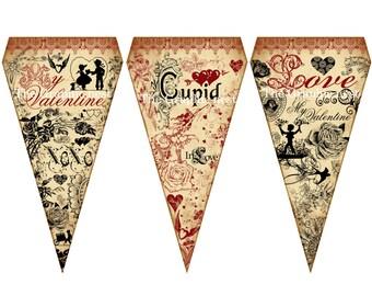 Vintage Valentine flags