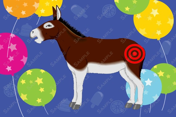 Fun Pin The Tail On The Donkey Printable 36 X 24 Inch .JPG