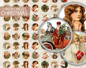 Vintage Christmas Circles Sheet 1 inch Digital Collage Sheet - Craft, Jewelry, Bottle Caps - Christmas Circles Printable - Instant Download