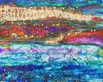 """Glimmering Horizon - Original 20""""x20""""x1.5"""" Acrylic Painting/Mixed Media on Gallery Wrapped Heavy Duty Canvas"""