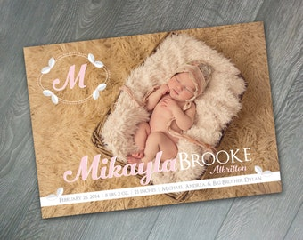 Mikayla Printable/ Print Yourself Birth Announcement, 5x7 Baby Announcement, Modern Baby Girl Birth Announcement