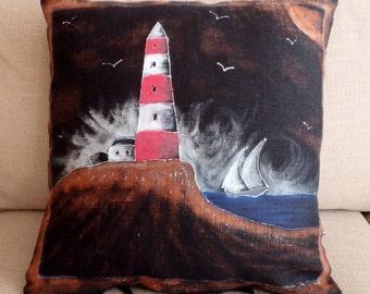 Black Linen Hand painted & each unique pillow case with Mediterranean motifs - Lighthouse