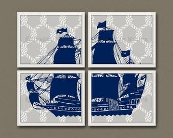 8x10 (4) Pirate Ship - Nursery Art, Nursery Decor, Children's Art, Nautical - Pirate Ship