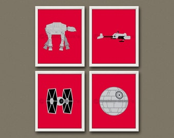 8x10 (4) STAR WARS Vehicles Prints - Nursery Art, Children's Art, Star Wars Art - Star Wars Vehicles