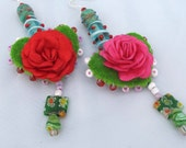 Heart Dangle Earrings// Venetian Glass and Millefiori Beads// Green and Red